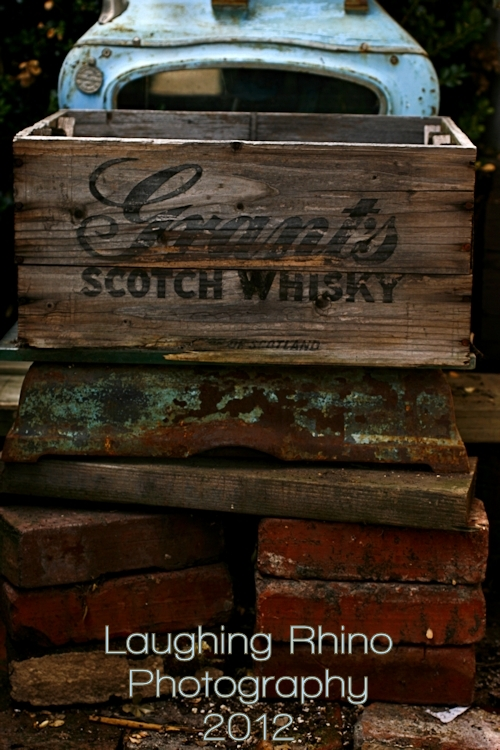 Antique Scotch Whisky Crate on Antique Scale